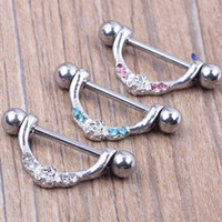 Wholesale Design Mixed Stainless Steel Rings - Nipple ring body piercing fashion jewelry 14G 316L surgical steel bar Nickel-free NEW design mix 3 color for woman