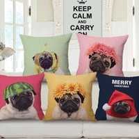 Wholesale Cushion Cover Lovely Cute Pug Dog Pillowcases Cotton Linen Printed x18 inches Europe Style Pillow Covers Decorative Pillows