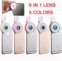 6 em 1 celular LED Kit Lens Phone Camera selfie Encha-in light + Fisheye + Macro + lente grande angular para o iPhone Samsung DHL OTH237