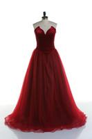 Wholesale Line Porm - Red Elegant Vestido De Festa Simple Sexy Sweetheart A Line Evening Dresses Tulle Celebrity Porm Party Dresses Vestido Longo