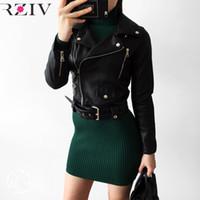 Wholesale womens jackets leather - Wholesale- RZIV 2017 spring jacket women casual black leather jacket zipper decoration women coat long sleeve womens clothing
