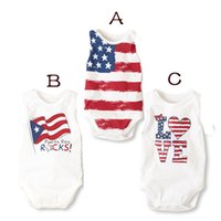 Wholesale One Piece Bodysuits Baby Clothing - Summer Infant Newborn Baby Rompers America Flag United Kingdown Love Heart Polka Dot One Piece Bodysuits Children Climb Clothes