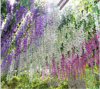Wholesale Hanging Baskets Flowering Vines - 2017 Artificial ivy flowers Silk Flower Wisteria Vine flower Rattan for Wedding Centerpieces Decorations Bouquet Garland Home Ornament IF01