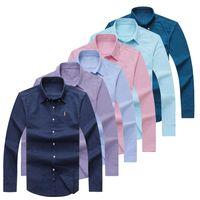 Wholesale red dress shirts men - ePacket free shipping Polo Oxford Shirt 100% cotton long sleeve Dress shirt men slim fit Casual Shirt Eur Size S-2XL