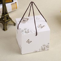 Wholesale Cake Boxes Packaging Pattern - 50 x White Butterfly Pattern Moon Cake Box Candy Box With Handle Packaging Baby Shower Birthday Packing Boxes 11.5*11.5*10cm