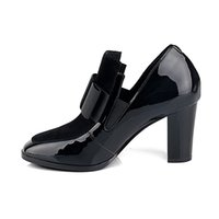Wholesale B Sexy Photo - New 100% REAL PHOTO high heels pumps square toe genuine leather shoes women ladies black Sexy chaussure femme