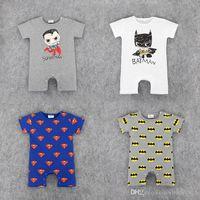 Wholesale Short Sleeve Baby Romper Batman - RMY18 NEW 4 Design infant Kids Batman Print Cotton Cool Romper baby Climb clothing boy girl Romper Summer Romper