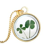 Wholesale Wholesale Real Leaf Pendants - Wholesale-Lucky Four Leaf Clover Shamrock Real Flower Necklace New Fashion DIY Pressed Dried Botanical Necklaces & Pendants For Women