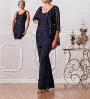 Wholesale Grooms Pants - New Fashion Formal Pant Suits For Mothers Bride Custom Plus Size Mother Of The Groom Dresses Lace Womens Navy Blue Dresses Evening H974