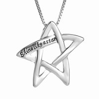 "Wholesale Hollow Point Necklace - Lettering ""Shine Like a Star Chain"" Link Silver Tone Alloy Hollow Five-Pointed Star Pendant Necklace Fashion Jewelry 156N07"
