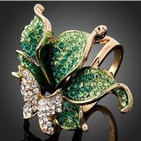 elmas şekilli kristaller toptan satış-İmitasyon Pırlanta 18 K Altın Kaplama Parti Takı Zarif Moda Kristal Kelebek Şekli Alyans Womee yüzükler takı frees nakliye Için