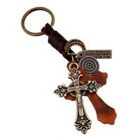 Wholesale Stainless Steel Cross Rings Mens - Mens Perfect Leather Key Chains Alloy Cross Pendant Keychains Vintage Cowhide Braid Key Rings Fashion Bag Accessories