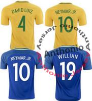 Wholesale Fast Deliver - TOP quality Brazil jersey 2016-17 Soccer jersey Camisa de futebol Brasil Neymar Oscar home away jersey Adult football Shirt men Fast deliver