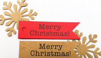 Wholesale Merry Christmas Gift Tags - 100pcs Decorative Merry Christmas Paper Gift Tags Label Hanging Cards DIY Home Party Decorations Christmas Accessories
