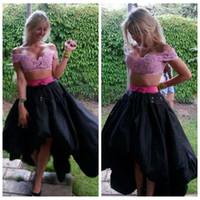 Wholesale Hi Lo Lilac Dress - 2016 Off Shoulder Lace Top Short High Low Prom Dress Lilac Lace Top Taffeta Skirt Two Piece Hi-Lo Party Gowns Homecoming Dress