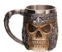 Wholesale Tankard Mug Wholesale - New Resin Skull Mug Tankard Striking Skull Warrior Tankard Viking Skull Beer Mug Gothic Helmet Drinkware Vessel