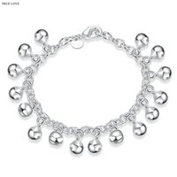 Wholesale Christmas Jingle Bell Bracelet Wholesale - Bell charm bracelet plated 925 sterling silver jewelry fashion lovely birthday gift woman jingling bangles hot Free shipping