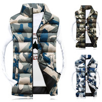Wholesale Collared Military Vest - Hot Selling Men Vest Warm Waistcoat Stylish Casual Camouflage Slim Jacket Sleeveless Outerwear Winter Military Vest WM0167