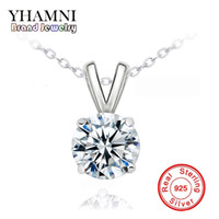Wholesale Diamant Necklace - YHAMNI Luxury Big 8mm 2 Ct CZ Diamond Pendant Necklace Fashion Sparkling Diamant Solid Silver Necklace Jewelry for Women XF183