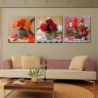 kuğular çiçekler toptan satış-Çerçevesiz Ev dekorasyon 3 Parça sanat resim ücretsiz kargo Tuval Baskılar saksı çiçek gül Bambu kuğu kelebek ağacı Ahşap iskele