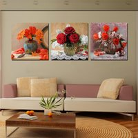 Wholesale Canvas Pier - Unframed Home decoration 3 Pieces art picture free shipping Canvas Prints potted flower rose Bamboo swan butterfly tree Wooden pier