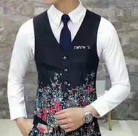 Wholesale Mens Waistcoats Custom - 2017 Unique Mens Floral Blazer Custom Made Mens Suit Vest Groom Vest Prom Wedding Waistcoat Printed Mens Dress Vests Slim Fit Plus Size