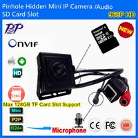 Quadrato Piccolo Covert HD 960P AudioVideo Hidden Pinhole Mini Fotocamera IP Micro SD TF con rete AUDIO P2P Onvif 2.0 Sicurezza CCTV