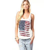 Wholesale Womens Sleeveless Tank Sexy Tops - Wholesale-Sexy Womens American Flag Vest Tank Tops Sleeveless Shirt Blouse Camisole