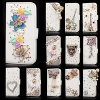 Wholesale Iphone Flip Diamond - For iPhone 8 Bling case Samsung Galaxy Note 8 S8 S7 edge J7 plus Crystal Leather Flip 3D Rhinestone Diamond Stand Wallet Case