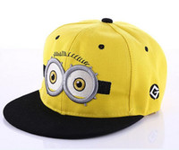 Wholesale Despicable Characters - 2016 Despicable Me 2 Cartoon Minions Peaked Cap Kids Snapback Hat Caps Children Boys Girls Baseball Hip Hop Hat Gift