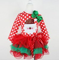 Wholesale Cake Fashion For Kids - Fashion Santa Childrens Dresses for Girls Dress Xmas Dot Bow Red Cake Dress Christmas Clothing New Year Girl Kids Clothes Patchwork Skirts