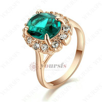 Wholesale Emerald Ring Set - Yoursfs New Generous Gircle Shape 18 K Rose Gold Plated Vintage Emerald Green Rhinestone Cocktail Ring Gift Ring for Women Jewelry R288R3F