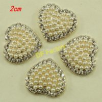 Wholesale Cheap Handmade Hair Accessories - 2cm heart pearl rhinestone accessories for craft hair accessory handmade(20 pieces lot ) M68490 Buttons Cheap Buttons