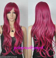 Wholesale Dark Rose Red Wig - 100% Hot Sell Brazil dark-haired woman wig cosplay Heat Resistant synthetic??New wig Cosplay long Wavy Rose red wig