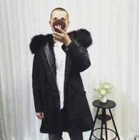 Wholesale Men Snow Coats - Snow men fur parka black fur black Long coats Mr & Mrs Italy soft fox fur lined parka high quality MMF black coats