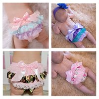 Discount lace diaper covers - 15% off! Baby Girl Ruffle Bloomers cotton Panties pp Shorts Diaper Cover briefs Summer Bottom Pants PP Skirt 4pcs(2pcs pants+2pcs hairbands)