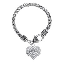 Wholesale Girl S Charm Bracelet - Myshape Hand Jewwelry Engrave DADDY S GIRL Bracelet & Pendant Necklaces & Pendant Charms Jewelry Rhodium Plated Crystal Pendant HandJewelry