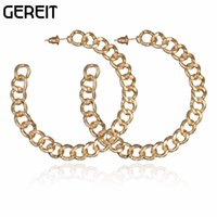 Wholesale nightclub accessories - Wholesale- High Quality Gold-color Gold Chain Round Circle Hoop Earrings Nightclub Party Jewelry Earrings For Women Brincos Accessories