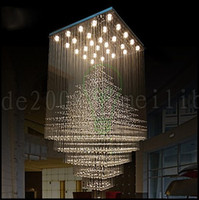 Wholesale luxury led chandelier ceiling lights - L80cm*W80cm*H180cm LED Luxury Crystal Ceiling Lights K9 Crystal Electroplated Metal Chandeliers for Living Room Dining Room Hallway LLWA145