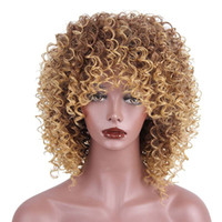 Wholesale short kinky wig - High Temperature Fiber Mixed Brown and Blonde Color Synthetic Short Hair Afro Kinky Curly Wigs for Black Women