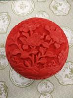 laqué sculpté achat en gros de-En gros Pas Cher Chinois Sculpté Fleur Rouge Cinnabar Lacquer Bijoux Boîte-Fleurs / Livraison Gratuite