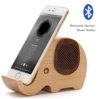 ingrosso supporto in legno-Altoparlante Bluetooth a forma di elefante multifunzionale in legno con supporto per cellulare, porta cellulare in legno per animali
