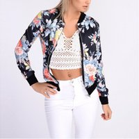 Wholesale Girl S Blazers - Classic Womens Short Tops Retro Floral Zipper Blazer Coat Outerwear Laides Girls Baseball Crop Celeb Bomber Jackets