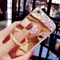 Wholesale Diamond Iphone 5s Cases - Diamond Mirror phone Case for Iphone 8 5 5S 6 6S Plus 7 7plus Shinny Crystal Clear Rhinestone Frame back cover Kickstand 360 degree rotation