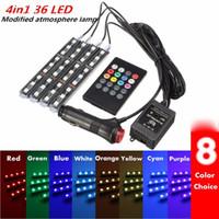 lumières de musique pour voiture achat en gros de-RGB 36 LED Voiture Charge 12 V 10 W Glow Intérieur Décoratif 4 en 1 Atmosphère Bleu À L'intérieur Pied Lampe de Lumière À Distance Contrôle de la Musique