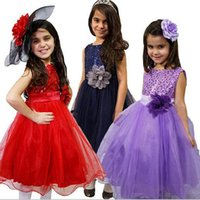 Wholesale Wear Summer Clothes For Winter - Sequined Dresses gril's formal children's clothes fashion show flower TuTu dresses for kids wear princess paty eveing dresses sleeveless