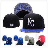 Wholesale Cheap Royal Hats - Cheap Royals Fitted Caps KC Letter Baseball Cap Embroidered Team KC Letter Size Flat Brim Hat Royals Baseball Cap Size