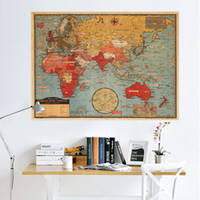 Wholesale world map wall sticker - World Map English Version National Geographic Atlantic International Wall Stickers Kraft Paper Poster Room Home Décor free shipping
