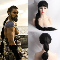 Wholesale Long Hair Wig For Men - Z&F Game Of Throne Cosplay Wig Khal Drogo Cosplay Wig 75cm Long Braid Cosplay Wig Black Rose Hair Net High Quality For Strong Man