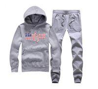 gruesas camisetas en blanco al por mayor-Unkut Nueva marca para hombre Sudadera con capucha moda para hombre más lana abrigo grueso en blanco marea al por mayor Algodón con capucha + pantalones